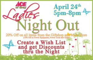 ladies night out spring sale at ace of gray