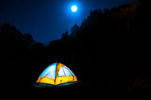 tent in the moonlight