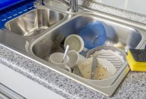 dishes in kitchen sink