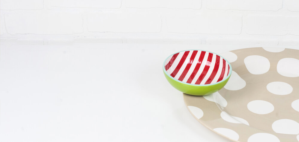 red striped bowl