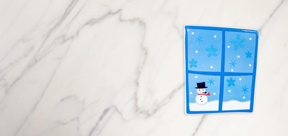 window with snowman