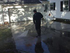 pressure washing the driveway